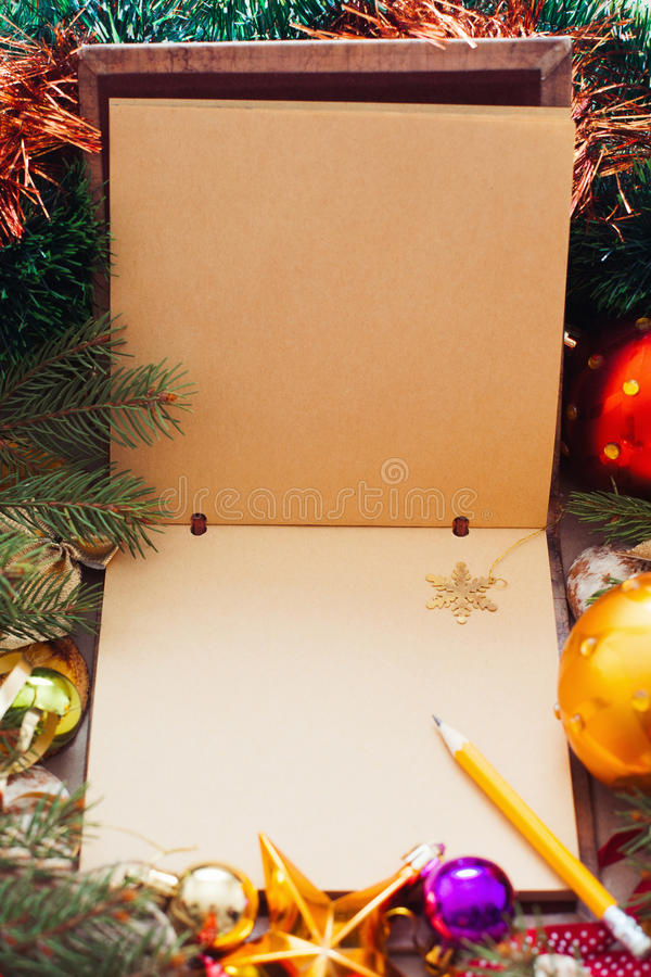 Empty Sketchbook With Golden Snowflake, Xmas Frame Stock Image ...