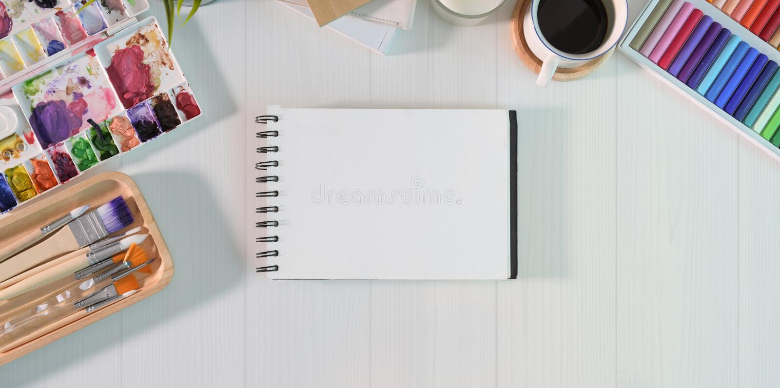 Empty sketchbook page royalty free stock image