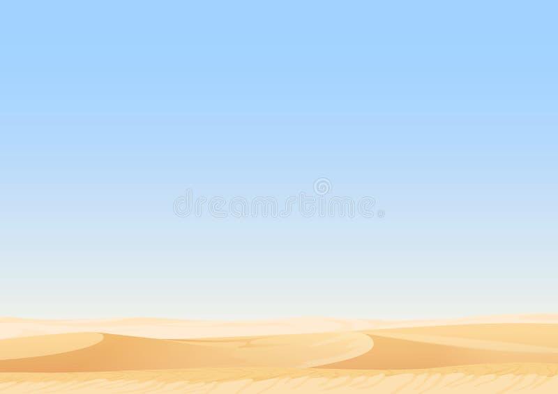 Empty sky desert dunes vector egyptian landscape background. Sand in nature illustration. Empty sky desert dunes vector egyptian landscape background. Sand in stock illustration