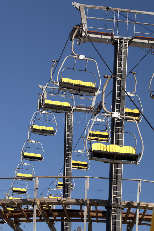 Empty Sky Lift Ride. Empty sky (ski) lift ride at an Amusement park in Wildwood, New Jersey royalty free stock photos