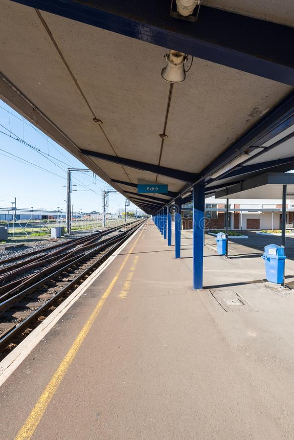 An empty small town train station royalty free stock photo