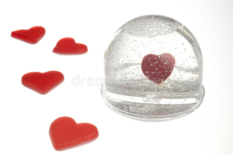 Empty snow dome with heart royalty free stock photos