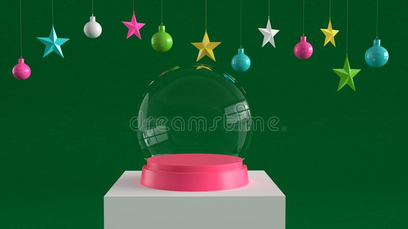 Empty snow glass ball with pink tray on white podium on green canvas background with hanging colorful balls and stars ornaments. vector illustration