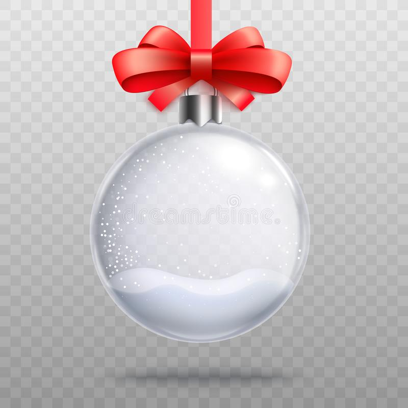 Empty snow globe bauble hanging by pretty red ribbon vector illustration