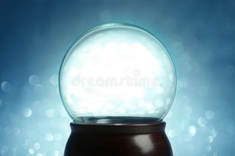 Empty snow globe. Christmas background royalty free stock images