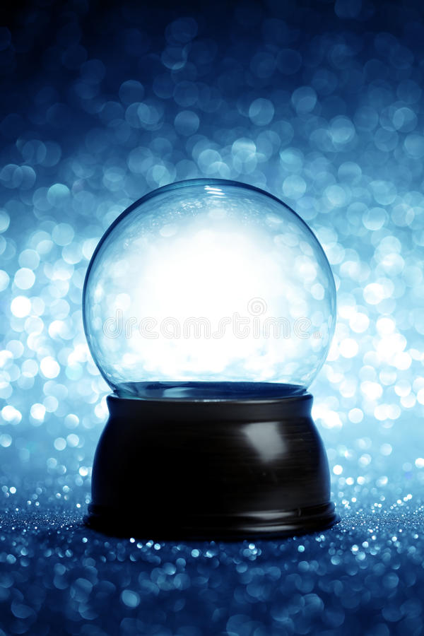 Empty snow globe. Christmas background royalty free stock photo