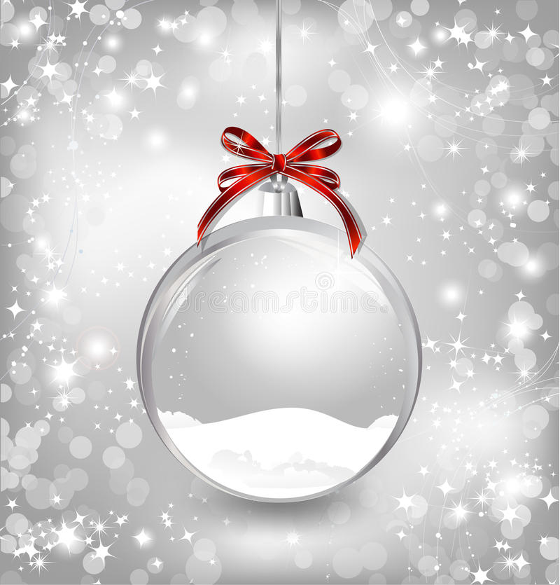 Empty snow-globe with red bow. Vector vector illustration
