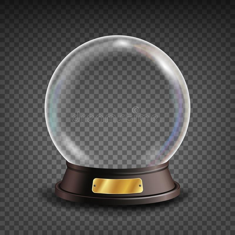 Empty Snow Globe Vector. Shadows, Reflection And Lights. Glass Sphere On A Stand. Isolated On Transparent Background vector illustration