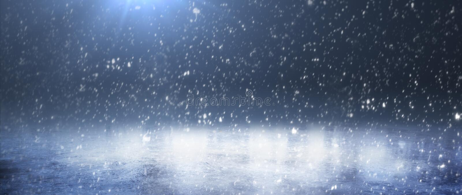 Empty snow rink. Snowy winter. Background. Panorama royalty free stock image