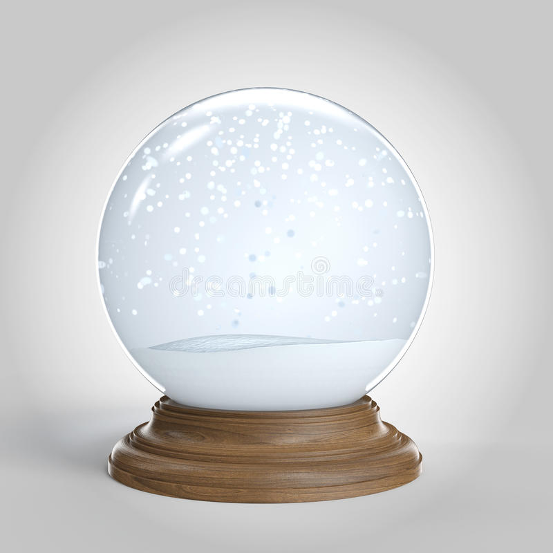 Empty snowglobe with copy space royalty free illustration