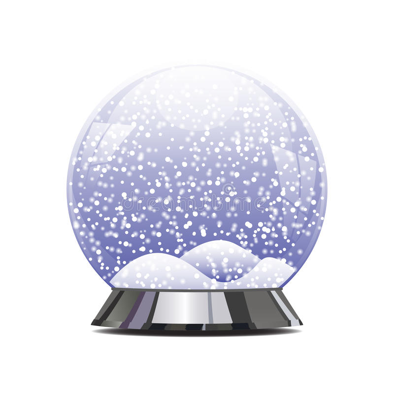 Empty Snowglobe With Glittering Lights And Stock Vector ...