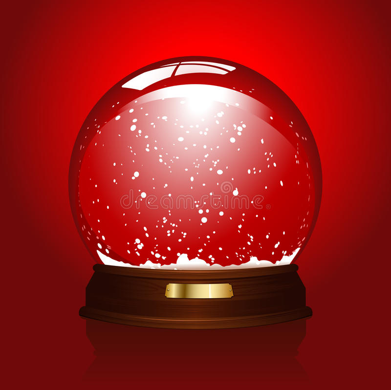 Empty snowglobe on red. Realistic illustration of an empty snowglobe over a red background - blue version available also - please visit my port stock illustration