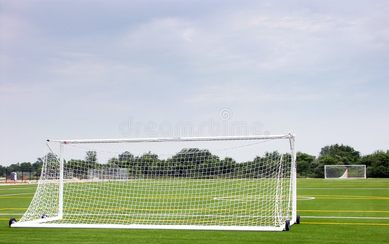 Empty soccer field. On the Floyd Bennet Field, Brooklyn, NY royalty free stock photo