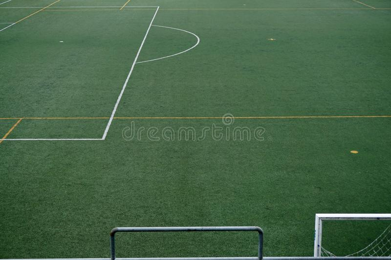 Empty soccer field. Green grass in the stadium royalty free stock photography