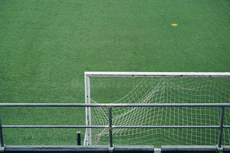 Empty soccer field. Green grass in the stadium stock photography