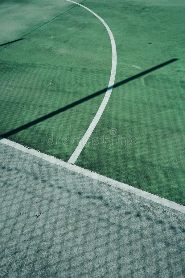 Empty soccer field. Green grass in the stadium stock image