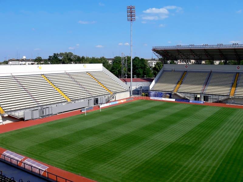 Empty soccer stadium stock photo
