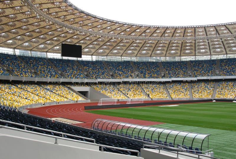 Empty soccer stadium stock photography