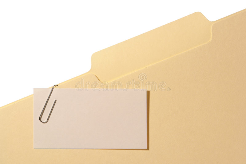 Empty Space Blank Business Card on Office Folder stock photo