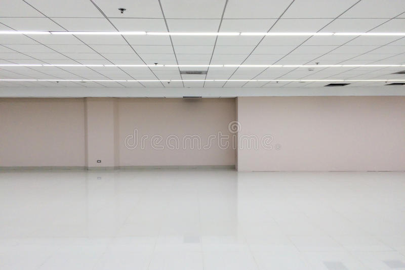 Empty Space of White Room with Ceiling Light for Interior stock photo
