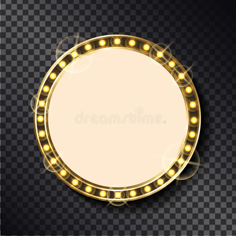 Empty Sparkling Frame, Neon Signboard with Lights. Empty sparkling frame, neon signboard with light bulbs isolated on transparent. Vector circle border, vintage royalty free illustration