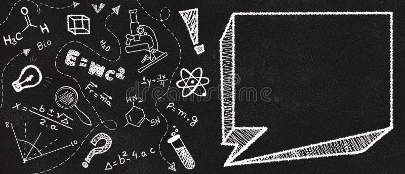 Empty speech bubble on a black chalkboard and school themed doodle stock illustration