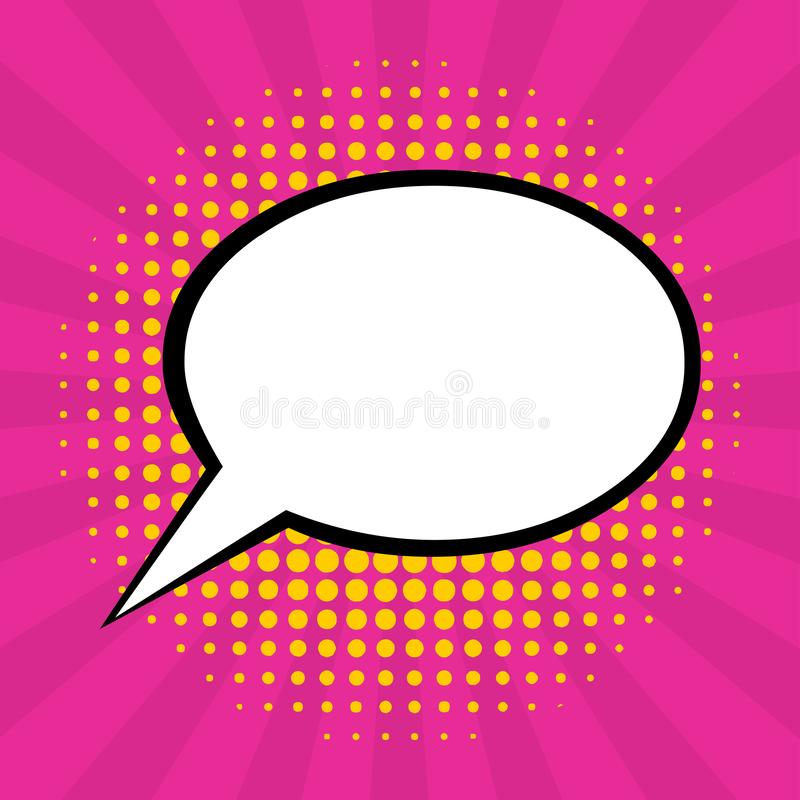 Empty speech bubble with pink  sunburst and yellow halftone background for pop art comic vector illustration stock photography