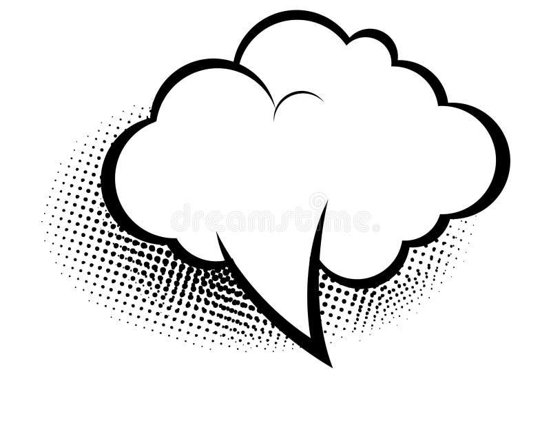 Empty speech bubble for a quote on white background, pop art retro style, illustration design. Halftone, simple, black, graphic, cloud, creative, element stock illustration