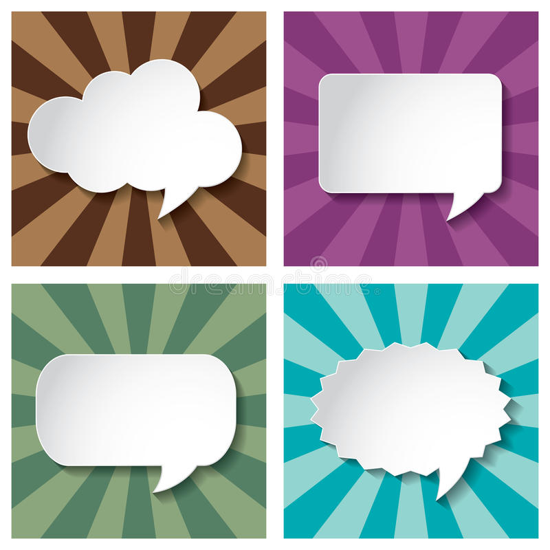 Empty speech bubbles paper on Sun burst retro Patt royalty free illustration