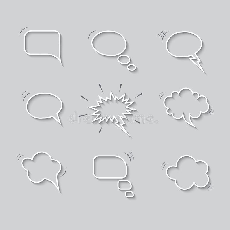 Empty speech bubbles with shadows isolated on gray background. Vector templates. stock illustration