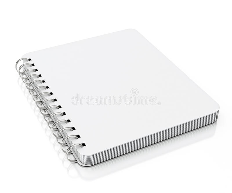 Empty spiral notebook lying isolated on white background. For advertisment text, illustartion design or photo vector illustration