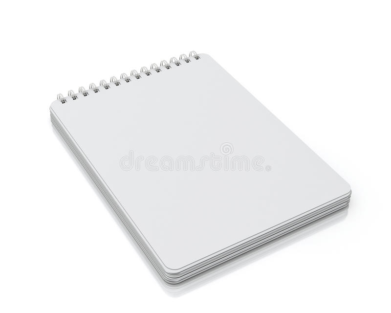 Empty spiral notebook lying isolated on white background. Template design vector illustration