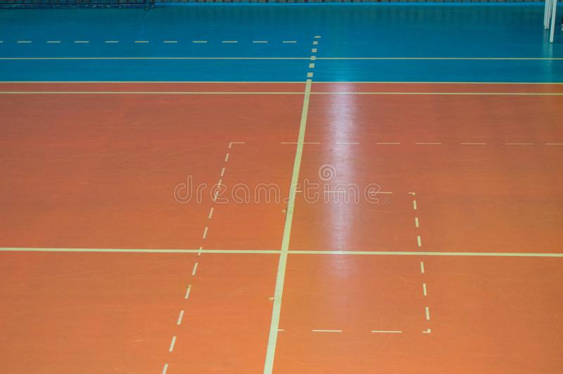Empty sports training room with markings on the floor for competitions.  royalty free stock photos