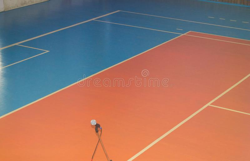 Empty sports training room with markings on the floor for competitions.  stock photos
