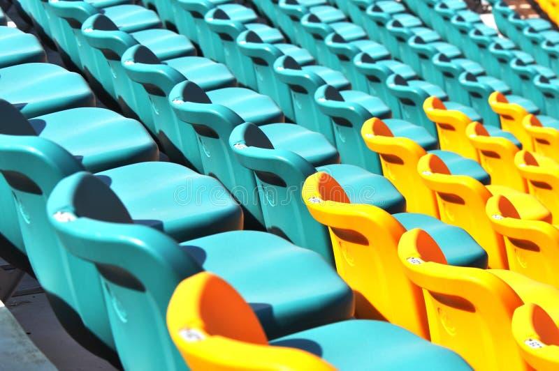 Empty stadium audience seats stock images