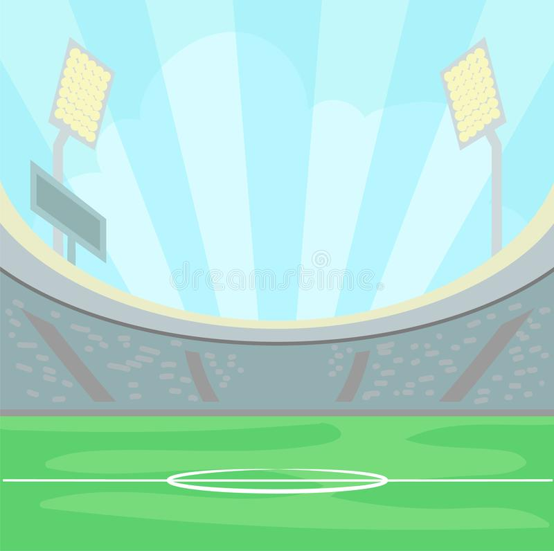 Empty stadium with a green grass in the day time under a blue sky, illuminated sport field background vector stock illustration