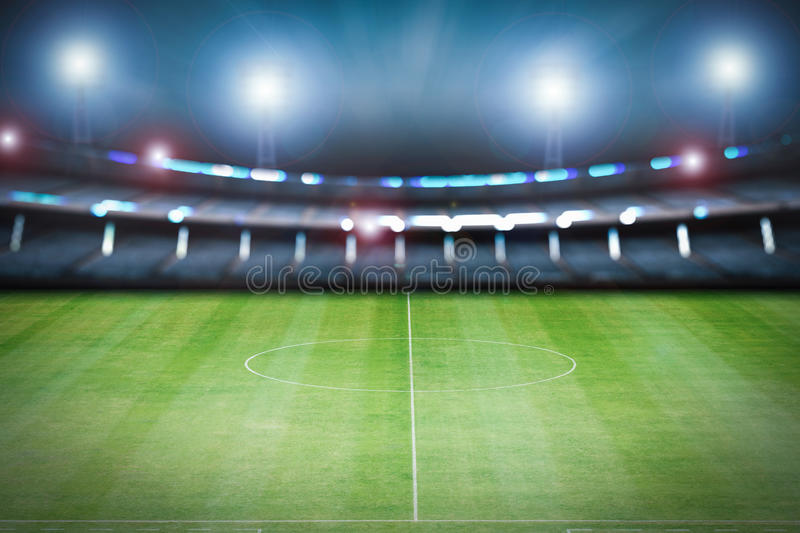 Empty stadium with soccer field. 3d rendering empty stadium with soccer field stock photography