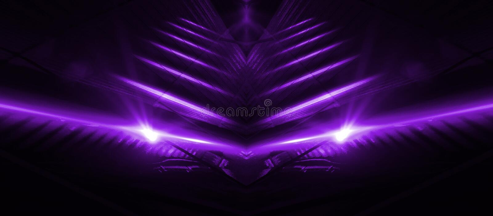 Empty stage background in purple color, spotlights, neon rays. royalty free illustration