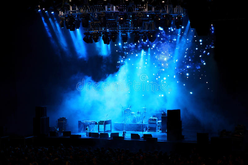 Empty stage in blue light stock photography