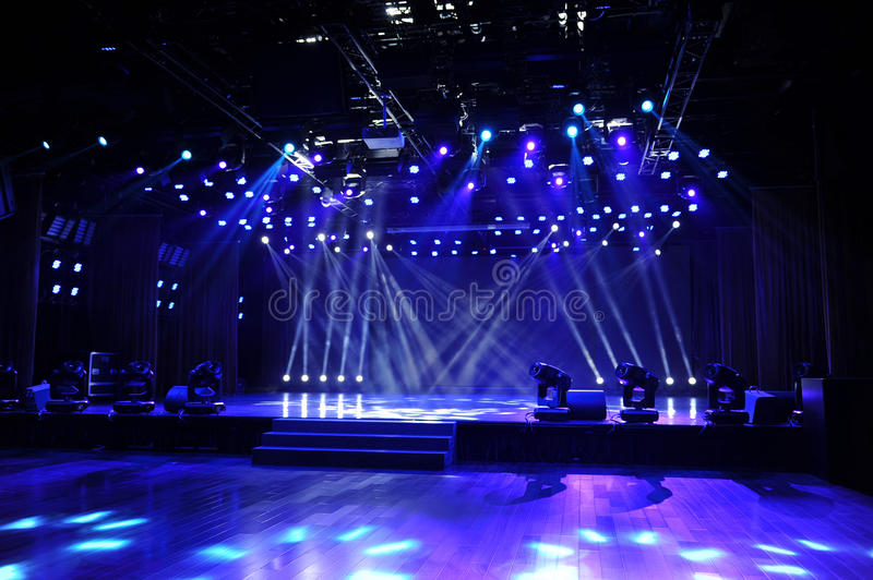 Empty Stage In Blue Light Beam Stock Images Image 34679314