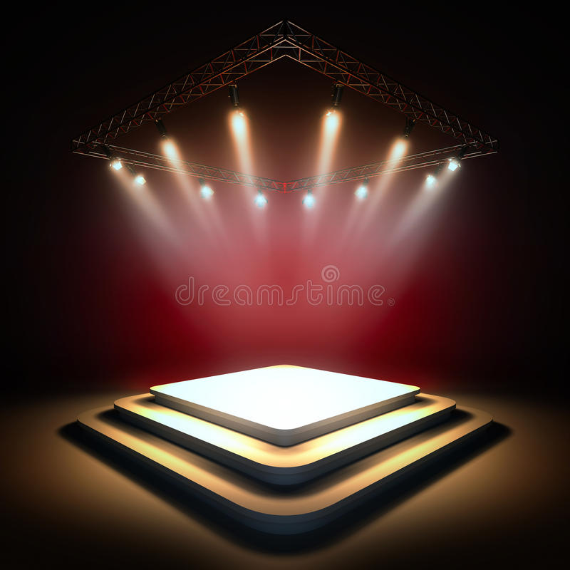 Empty stage illuminated by spotlights. royalty free illustration