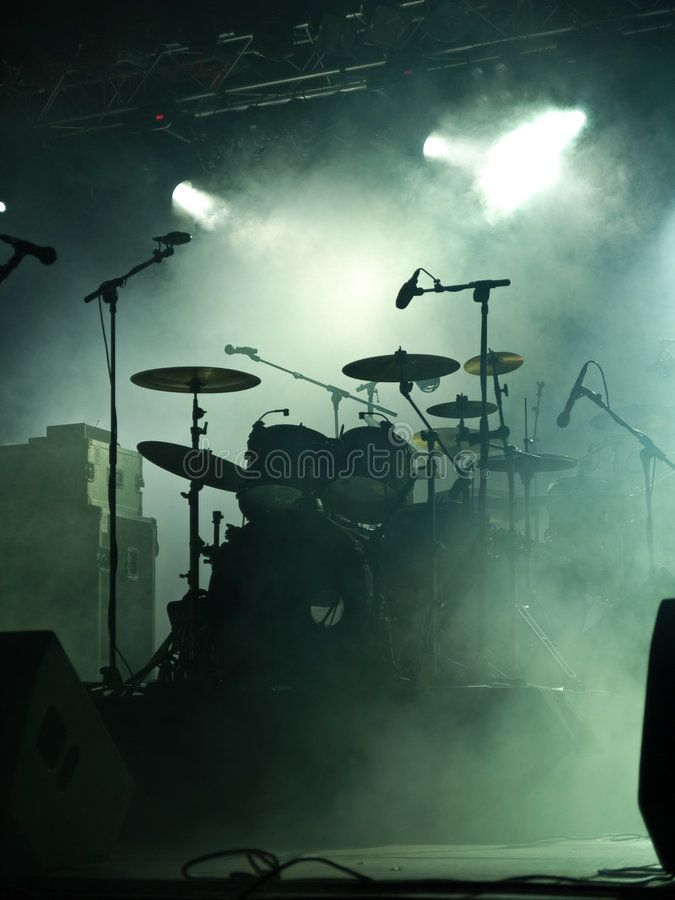 Empty Stage With Instruments Stock Images