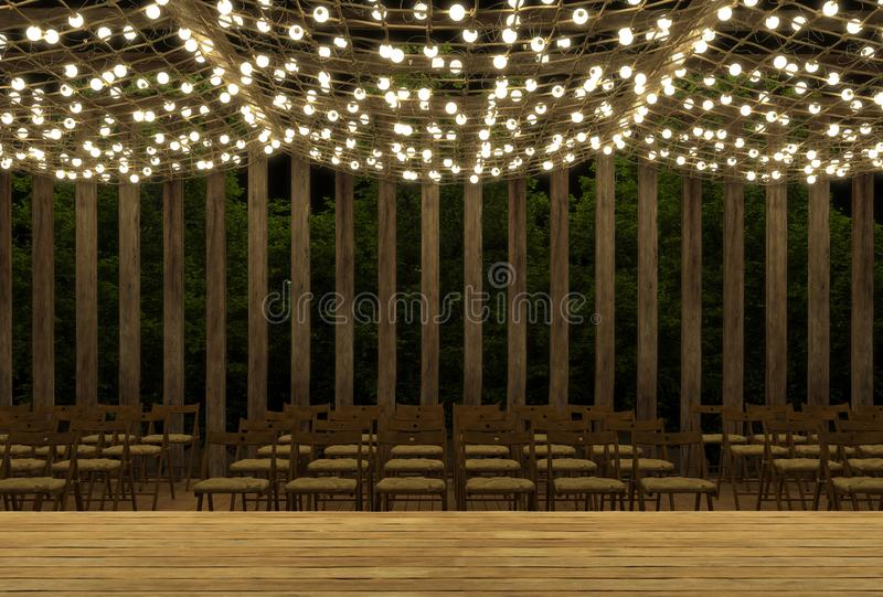 Empty stage for performances on the summer outdoor platform at night. Open air. Decorations of luminous garlands. Podium for conce royalty free illustration