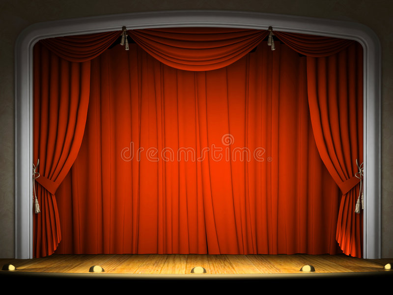Empty stage with red curtain stock photography