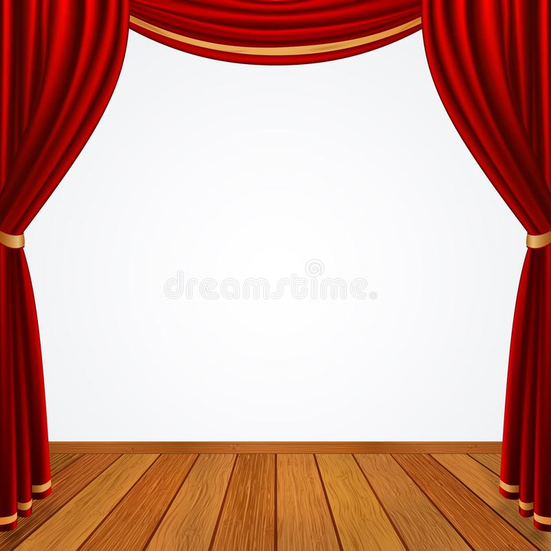 Empty stage with red curtains drapes and brown wooden floor royalty free illustration