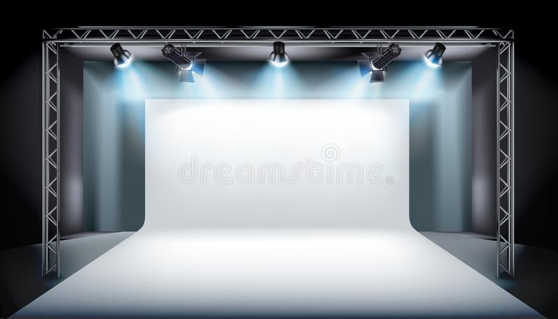 Empty stage in television studio. Vector illustration. stock illustration