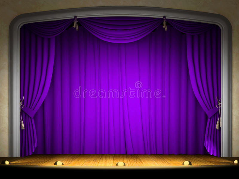 Download Empty Stage With Violet Curtain Stock Images - Image: 12559404