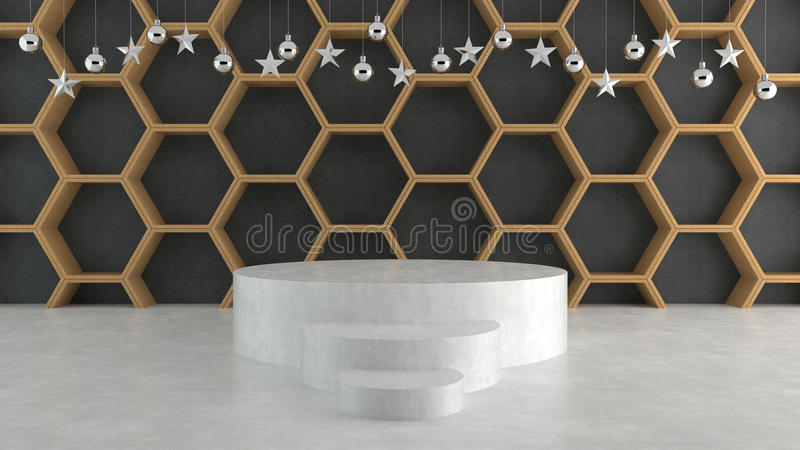 Empty stage on wave pattern background with hanging balls and stars ornaments. For new year or Christmas theme. 3D rendering royalty free illustration