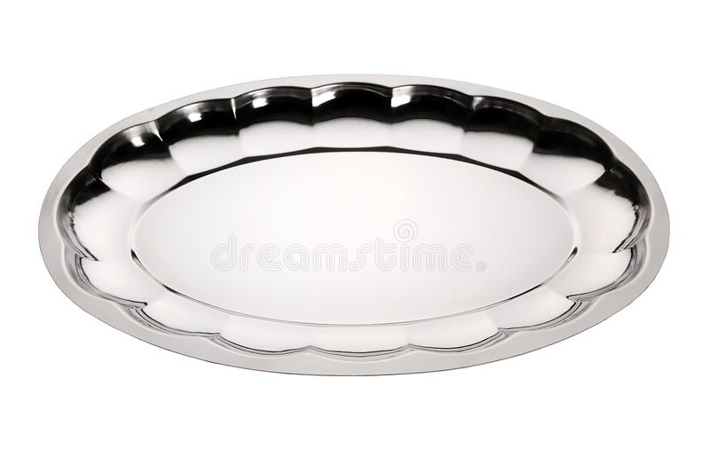 Empty stainless serving tray. Silver tray with floral ornament. Stainless tray on white background. Empty serving tray. Silver tray with floral ornament royalty free stock images