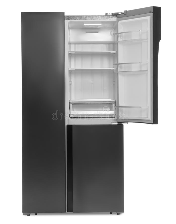 Empty stainless steel refrigerator isolated royalty free illustration